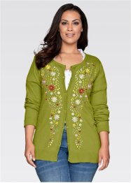 Cardigan ricamato, bpc bonprix collection, Muschio