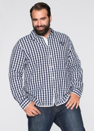 Camicia a quadri slim fit, bpc selection, Bianco / blu scuro a quadri