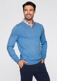 Pullover con colletto regular fit, bpc selection, Azzurro melange