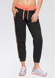 Pantaloni in felpa 7/8, bpc bonprix collection, Nero / salmone neon