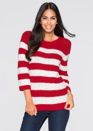 Pullover, BODYFLIRT, Rosso / bianco panna a righe