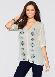 Blusa ricamata con manica a 3/4, bpc bonprix collection, Bianco crema fantasia