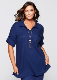 Blusa in misto lino, bpc selection, Blu notte