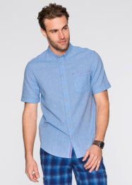 Camicia a manica corta regular fit, bpc bonprix collection, Blu medio / bianco melange