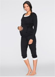 Completo prémaman da wellness (top + leggings + bolero), bpc bonprix collection, Nero / bianco