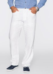 Pantalone di lino regular fit straight, bpc selection, Bianco