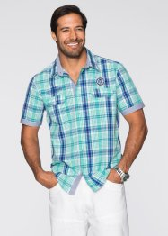 Camicia a quadri regular fit, bpc selection, Menta / blu a quadri