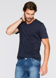 T-shirt con scollo a V (pacco da 3) regular fit, bpc bonprix collection, Blu medio + bianco + blu scuro