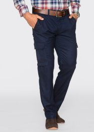 Pantalone cargo regular fit straight, bpc selection, Blu scuro melange