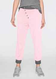 Pantalone in felpa alla turca 7/8, bpc bonprix collection, Rosa neon melange