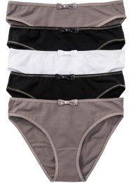 Slip (pacco da 5), bpc bonprix collection, Marrone medio / nero / bianco