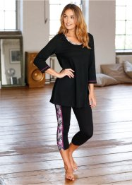 Pigiama con leggings 7/8, bpc bonprix collection, Nero fantasia