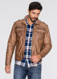 Giacca in similpelle regular fit, John Baner JEANSWEAR, Cognac