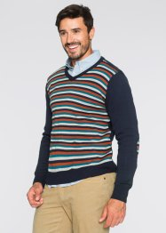 Pullover con scollo a V regular fit, bpc bonprix collection, Blu scuro a righe