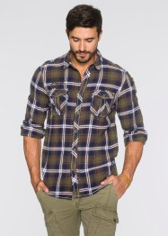 Camicia a quadri regular fit, bpc bonprix collection, Verde oliva / blu scuro a quadri