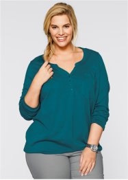 Blusa in maglina a manica lunga, bpc bonprix collection, Petrolio scuro