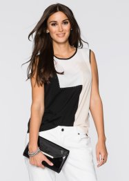 Blusa color block in georgette, BODYFLIRT, Nero / bianco / cipria