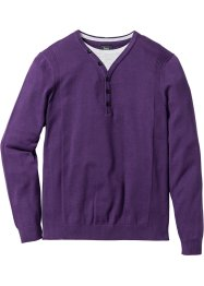 Pullover effetto 2 in 1 regular fit, bpc bonprix collection, Melanzana