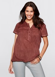 Blusa a mezza manica con pizzo, bpc bonprix collection, Mogano used