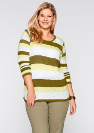 Pullover con filato fiammato, bpc bonprix collection, Giallo sorbetto a righe