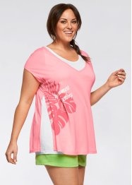 T-shirt + top (set 2 pezzi), bpc bonprix collection, Rosa neon / bianco