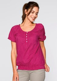 Blusa a manica corta, bpc bonprix collection, Bacca / bianco a pois
