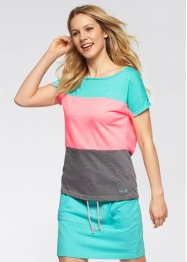 T-shirt, bpc bonprix collection, Verde mare / rosa neon / grigio melange