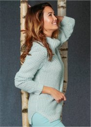 Pullover melange a collo alto, bpc bonprix collection, Bianco panna / verde pastello / rosa tenero fantasia