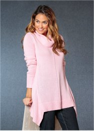 Pullover con fondo a punte e collo alto, bpc bonprix collection, Rosa cipria