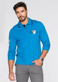 Polo a manica lunga regular fit, bpc selection, Blu Capri