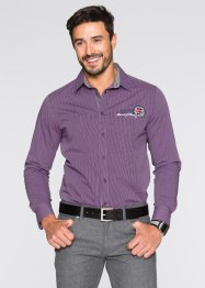 Camicia a manica lunga regular fit, bpc selection, Bacca / bianco a righe