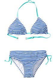 Bikini per bambina, bpc bonprix collection, Blu / bianco