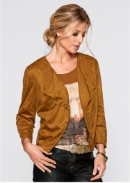 Blazer corto in similpelle scamosciata, bpc selection, Bronzo