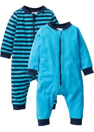 Tutina in cotone biologico (pacco da 2), bpc bonprix collection, Blu scuro + turchese