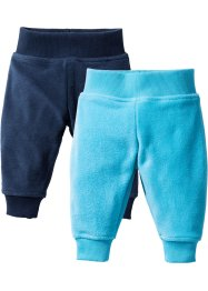 Pantalone in pile (pacco da 2), bpc bonprix collection, Blu scuro + turchese