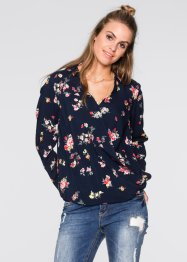 Blusa incrociata, RAINBOW, Blu scuro a fiori
