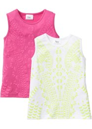 Top con stampa a rilievo (pacco da 2), bpc bonprix collection, Fucsia + bianco