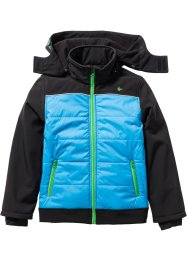 Giacca in softshell con cappuccio, bpc bonprix collection, Nero / turchese