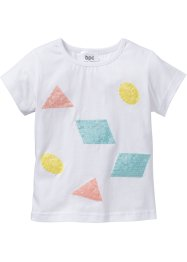 T-shirt con paillettes, bpc bonprix collection, Bianco