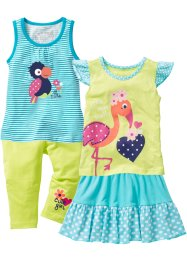 Top + t-shirt + gonna + pinocchietto (set 4 pezzi), bpc bonprix collection, Acqua / kiwi