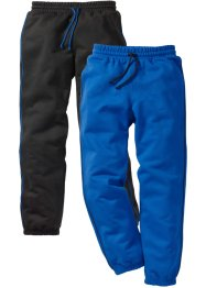 Pantalone in felpa (pacco da 2), bpc bonprix collection, Nero + bluette
