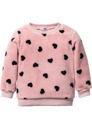 Pullover in pellicciotto sintetico, bpc bonprix collection, Rosa tenero / nero fantasia