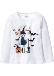 "Maglia a manica lunga ""Glow in the Dark"" per Halloween, bpc bonprix collection, Bianco stampato"