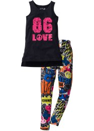 Top lungo + leggings in jersey (set 2 pezzi), bpc bonprix collection, Nero / fantasia multicolore