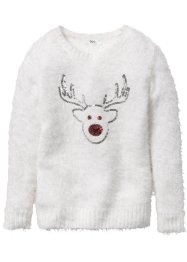 Pullover oversize con alce, bpc bonprix collection, Bianco panna