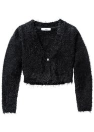 Cardigan in filato peloso, bpc bonprix collection, Nero