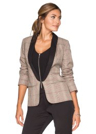 Blazer stile smoking, BODYFLIRT, Beige a quadri