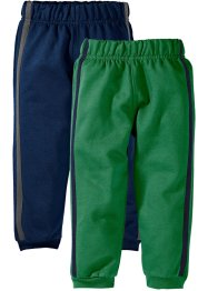 Pantalone in felpa (pacco da 2), bpc bonprix collection, Blu scuro + verde