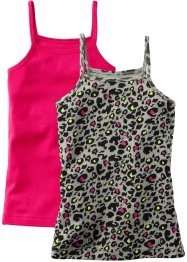 Top basic (pacco da 2), bpc bonprix collection, Leopardato + fucsia scuro