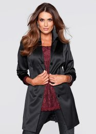 Blazer lungo in satin, bpc selection premium, Nero